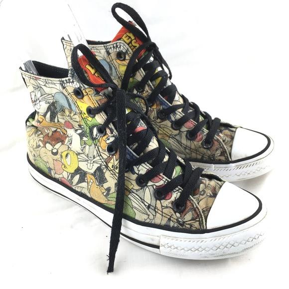 6a19f7b0a2ea03 Converse Shoes - Looney Tunes sneakers high top canvas chucks 8.5